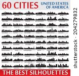 Incredible skyline set. 60 city silhouettes of United States of America - stock vector