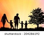 family silhouettes   Shutterstock .eps vector #204286192
