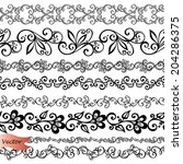 vector set of decorative floral ... | Shutterstock .eps vector #204286375