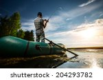 mature man fishing from the... | Shutterstock . vector #204293782