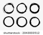 set of grunge black round... | Shutterstock .eps vector #2043003512