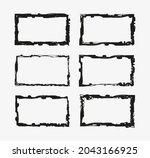 vector grunge border frame set. | Shutterstock .eps vector #2043166925