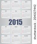 2015 year calendar | Shutterstock . vector #204327442