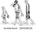 family walking on the beach | Shutterstock .eps vector #204328156
