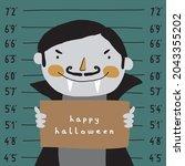 cute halloween vector...   Shutterstock .eps vector #2043355202