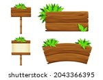 set wooden signboard with...