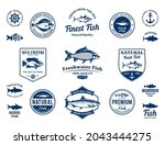 vector fish logo  labels  icons ... | Shutterstock .eps vector #2043444275