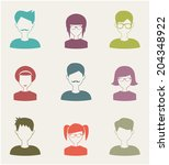 trendy flat people icons set 2 | Shutterstock .eps vector #204348922