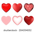 set of six big red hearts 3d... | Shutterstock . vector #204354052