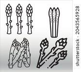 set of asparagus  icon  line... | Shutterstock .eps vector #2043565928