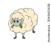 an indifferent sheep chews the...   Shutterstock .eps vector #2043602438