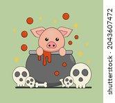 vector character of cute pig in ...   Shutterstock .eps vector #2043607472