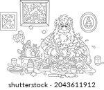 santa claus washing dishes ... | Shutterstock .eps vector #2043611912
