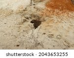 A Small Sinkhole On The Sand In ...