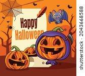 happy halloween. cartoon cute...   Shutterstock .eps vector #2043668588