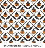 halloween seamless pattern...   Shutterstock .eps vector #2043675932