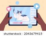 cat video flat color vector... | Shutterstock .eps vector #2043679415
