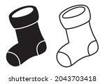 christmas sock icon. black... | Shutterstock .eps vector #2043703418