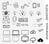 hand draw doodle icons. concept ... | Shutterstock .eps vector #204370576
