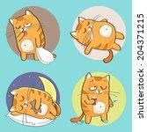 Stock vector set of cute cartoon cat in various poses 204371215