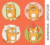 Stock vector set of cute cartoon cat in various poses 204371218
