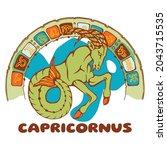 capricorn horoscope. image of a ... | Shutterstock .eps vector #2043715535