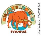 constellation taurus. christmas ... | Shutterstock .eps vector #2043715568