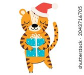 cute tiger with christmas... | Shutterstock .eps vector #2043716705