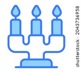 candles vector blue outline... | Shutterstock .eps vector #2043736958