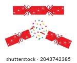 christmas cracker isolated.... | Shutterstock .eps vector #2043742385