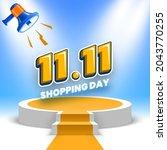 11.11 shopping day sale banner... | Shutterstock .eps vector #2043770255