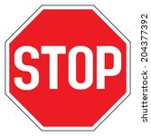warning traffic stop sign | Shutterstock .eps vector #204377392