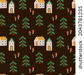cozy home seamless pattern....   Shutterstock .eps vector #2043781235