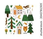 forest home. cute little forest ...   Shutterstock .eps vector #2043781505