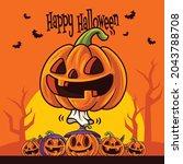 happy halloween. cartoon cute...   Shutterstock .eps vector #2043788708