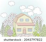 nice house with blossom trees....   Shutterstock .eps vector #2043797822