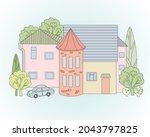 vintage building with brick...   Shutterstock .eps vector #2043797825