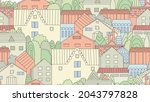 seamless texture with cozy town ...   Shutterstock .eps vector #2043797828