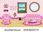 cute living room scene pink... | Shutterstock .eps vector #204385075