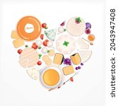 cheese flat composition with... | Shutterstock .eps vector #2043947408