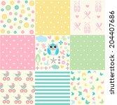 cute baby seamless set | Shutterstock .eps vector #204407686
