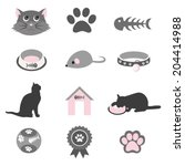 pet icons set   Shutterstock .eps vector #204414988