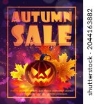 autumn  halloween sale poster ... | Shutterstock .eps vector #2044163882