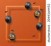 realistic black balloons ... | Shutterstock .eps vector #2044164452