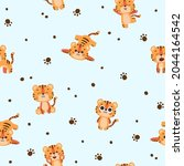 seamless pattern with cute... | Shutterstock .eps vector #2044164542