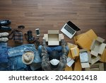 top view of man selling online...   Shutterstock . vector #2044201418