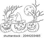 halloween pumpkins with hat... | Shutterstock .eps vector #2044203485