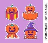cute pumpkin cartoon stickers... | Shutterstock .eps vector #2044215338