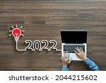 creative light bulb idea 2022...   Shutterstock . vector #2044215602