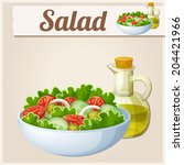 fresh salad with olive oil.... | Shutterstock .eps vector #204421966